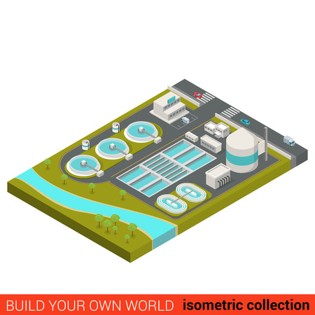 Flat 3d isométrique bloc de construction d'installations de traitement des eaux usées conception infographique. Ville déchets industriels assainissement des eaux usées puisard plomb. Construisez votre collection mondiale propres infographies. Vecteurs