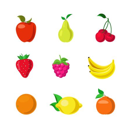 Flat creative style fruit berry modern infographic vector icon set. Apple cherry strawberry pear raspberry orange banana lemon. Natural grown farm food icons collection. Illustration