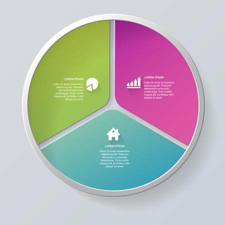 segment: Simple multicolor 3 segment circle segment step process steps labels infographics mockup template. Infographic background concepts collection. Illustration