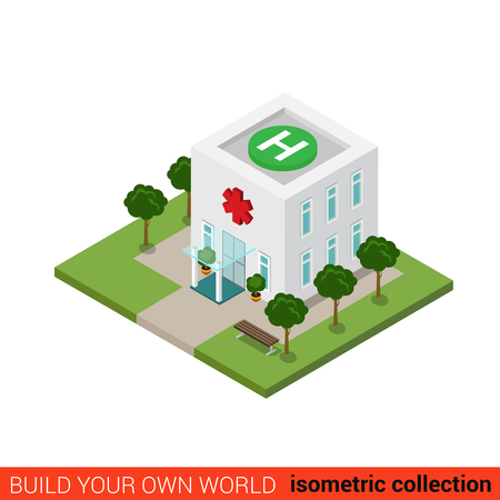 city block: Flat 3d isometric hospital building block infographic concept. Emergency clinic rooftop heliport helicopter landing zone pad platform H sign. Build your own infographics world collection.