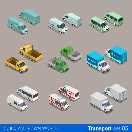Flat 3d isométrique icône de transport de fret urbain de marchandises de haute qualité définie. camion voiture camionnette construction ambulance eau micro bus. Construisez votre propre monde web collection infographique.