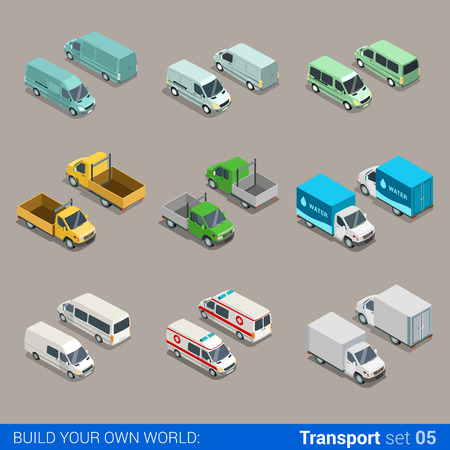 truck road: Flat 3d isometric high quality city freight cargo transport icon set. Car truck van construction ambulance delivery water micro bus. Build your own world web infographic collection.