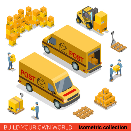 Flat 3d isometric postal service warehouse staff delivery van loading concept. Men loader forklift pallet package parcel manipulation. Build your own world collection. Vectores