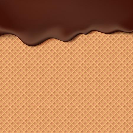 ウェーハ テクスチャ甘い食べ物ベクトル背景にチョコレートに流れています。ワッフル シームレス パターンでチョコを溶かします。