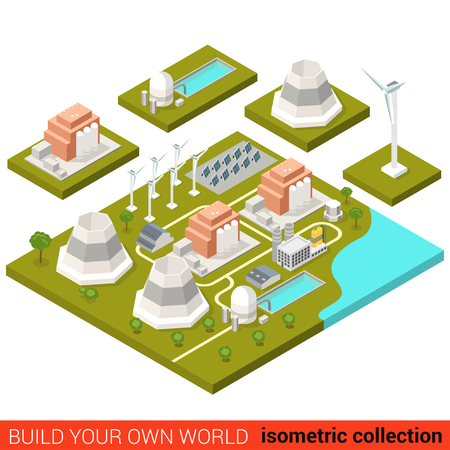 building block: Flat 3d isometric power alternative green energy heat plant building block infographic concept. Wind turbine sun battery module atom nuclear. Build your own infographics world collection. Illustration