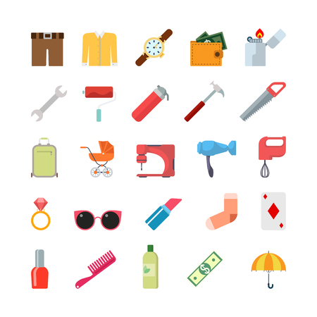 symbol icon: Flat creative style modern misc lifestyle clothing tools infographic vector icon set. Shorts sweater watch wallet lighter wrench hummer pram sewing machine lipstick ring. Life style icons collection.