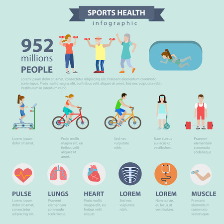 thematic: Flat style thematic sports health infographics concept. Healthy lifestyle exercise activity water pool cycling power lifting tennis running info graphic. Conceptual web site infographic collection.