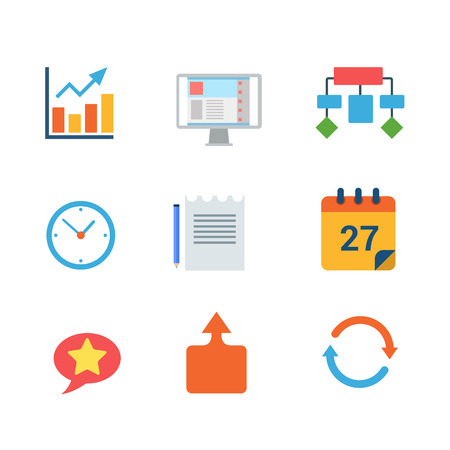 statistics icon: Flat style modern business finance statistics ERP CRM mobile web app interface concept icon set. Chart graphic algorithm clock document calendar chat reload infographics. Website icons collection.