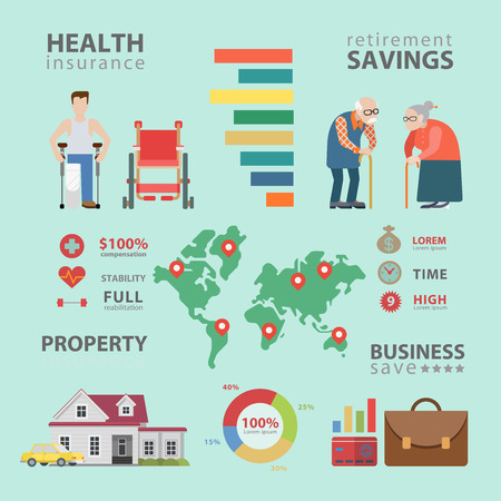 oldies: Flat style thematic health insurance retirement infographics concept. Info graphics world statistics oldies healthcare property business. Conceptual web site infographic collection.