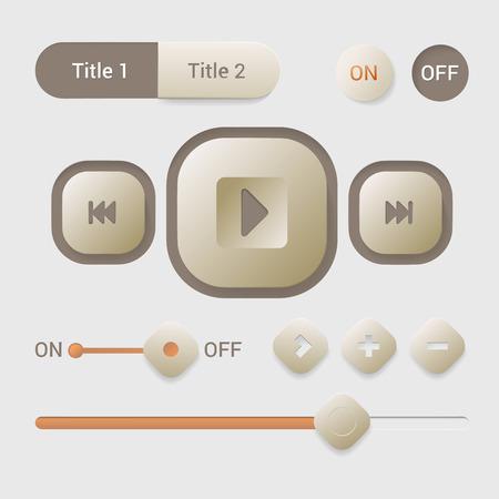 tab: Player interface design element vector set. Mobile app smartphone tablet web tab navigation bar switch buttons slider.