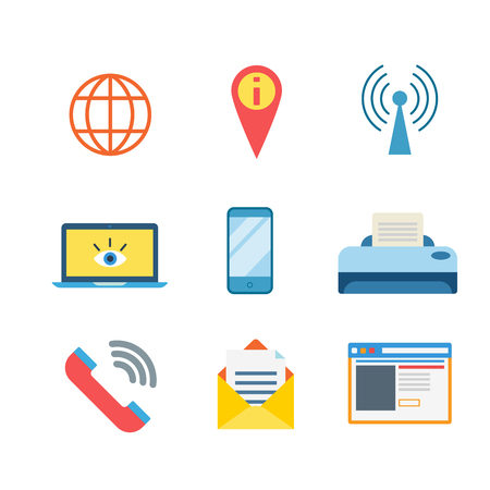 hotspot: Flat style modern business messenger mobile web app interface concept icon set. Globe map pin hotspot network laptop smartphone printer call message window. Website icons collection.