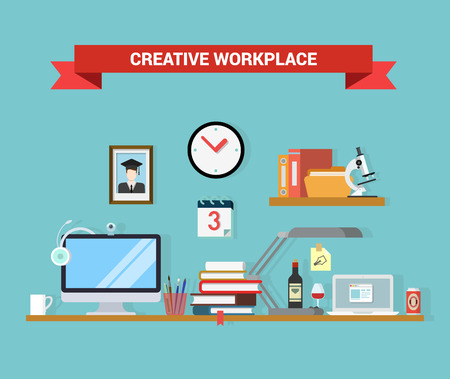 office objects: Flat style home office interior computer laptop graduate student workplace objects concept. Outsourcing distant work telework vector conceptual illustration. Web site infographics elements collection. Illustration