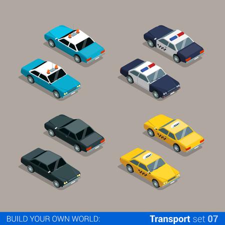 Flat 3d isometrische hoge kwaliteit stadsdienst transport icon set. De politie sheriff auto taxi zwart special. Bouw je eigen wereld web infographic collectie.