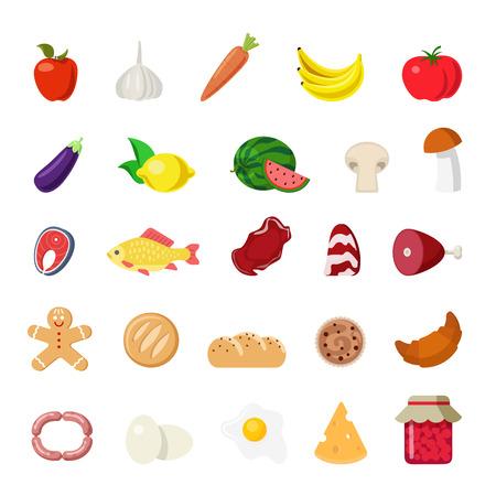 collection: programar un estilo moderno concepto plana alimentos icono de aplicación web. frutas comestibles de verduras manzana queso huevos de panadería seta carne de pescado zanahorias tocino croissant limón pan de plátano melón galleta. Colección de los iconos del sitio web. Vectores
