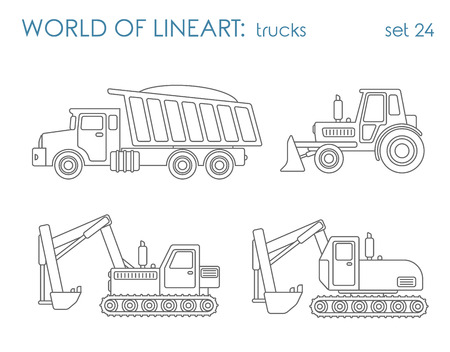 Construction transport graphical lineart hipster set. Tipper excavator tractor grader. Line art collection.