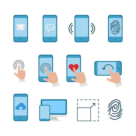 web store: Flat line art creative web mobile app conceptual infographic icon set. Mail chat vibration alert fingerprint touch gesture like screen orientation cloud store upload download responsive magnify.