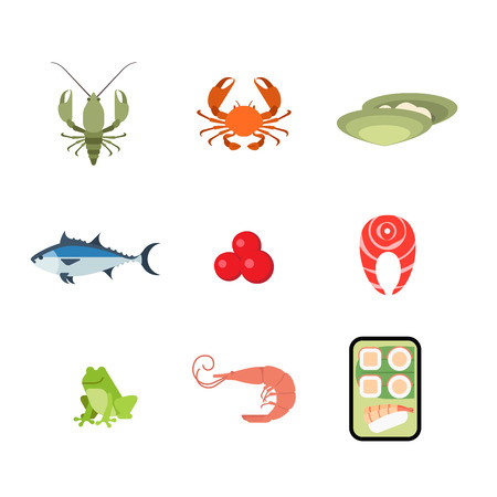 shrimp: Flat style modern sea food web app concept icon set. Crab lobster crayfish crawfish oyster salmon caviar fish steak frog shrimp Japanese sushi roll mobile application. Website icons collection.