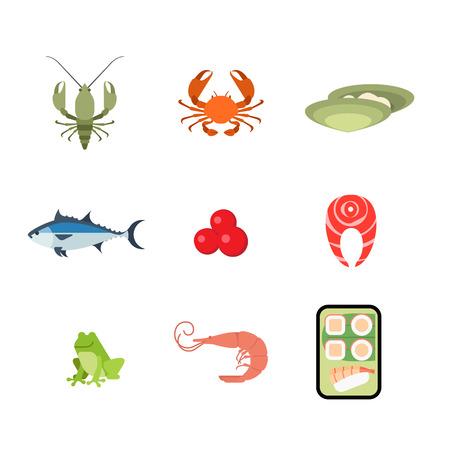camaron: programar un estilo moderno plano mariscos concepto de aplicación web icono. Cangrejo de langosta cangrejos de río cangrejos de río ostra huevas de salmón filete de pez sapo camarones aplicación móvil rollo de sushi japonés. Colección de los iconos del sitio web. Vectores