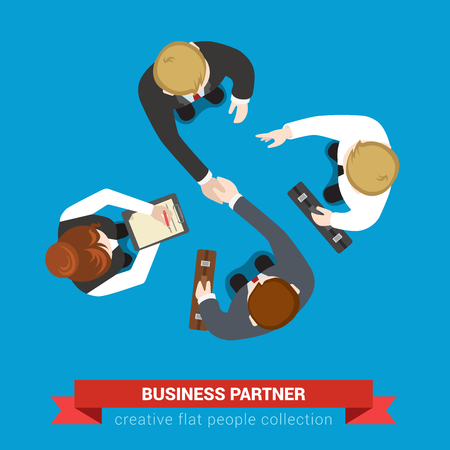 business  concepts: Business partner handshake deal contract meeting. Top view flat web infographic concept vector. Businessmen and assistants. Creative people collection. Illustration