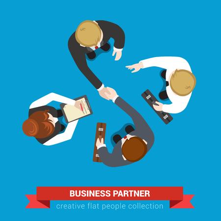 contrato de trabajo: socio de negocios reunión contrato de acuerdo apretón de manos. Vista superior de banda plana concepto infografía vector. Los hombres de negocios y asistentes. personas colección creativa.