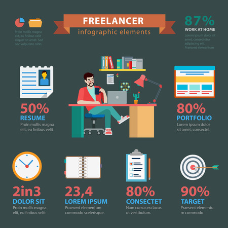 thematic: Flat style thematic freelance success infographics concept. Successful freelancer resume portfolio in-time schedule plan target checklist. Conceptual web site infographic collection. Illustration