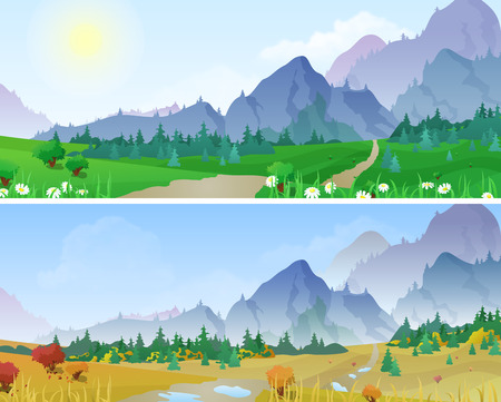 03: Hilly mountains Landscape in Seasons: summer, autumn. Floral background changing seasons set 03