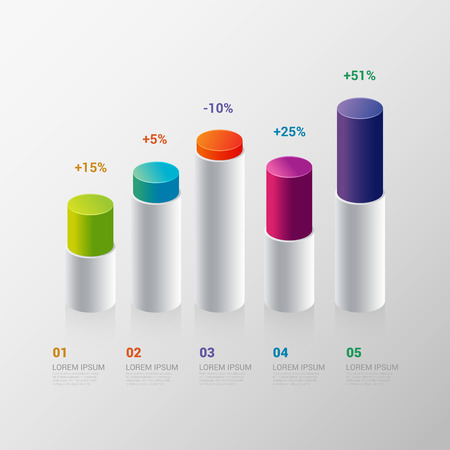 Infographics design vector template. indicator bar graph chart graphic process steps.