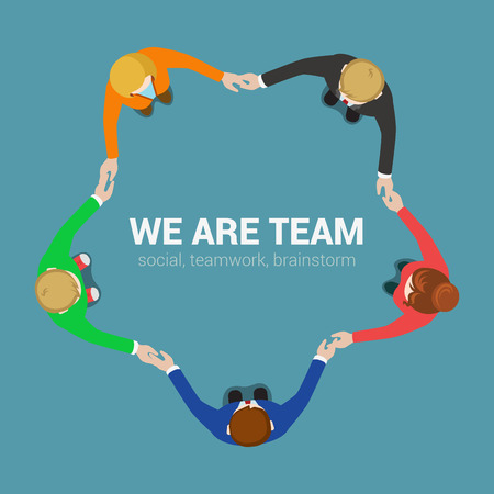 Friendly team circle hands support motto. Top view business flat web infographic concept vector. Creative people collection.