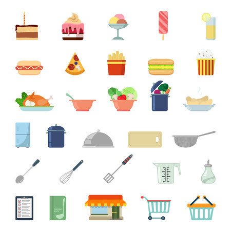 colander: Flat style modern shopping meal food cooking web app concept icon set. Cake tart ice cream lemonade pizza salad soup fridge mixer menu pop corn cutting board colander paddle. Website icons collection.