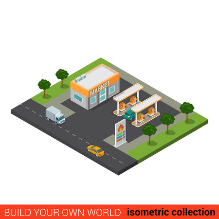 building block: Flat 3d isometric highway gas petroleum petrol refill station market building block infographic concept. Build your own infographics world collection. Illustration