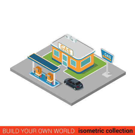 gas: Flat 3d isometric gas petroleum petrol refill station building block infographic concept. Build your own infographics world collection.