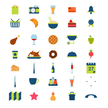 rubbish cart: Flat style modern food beverage eat drink cafe restaurant booking meal time mobile web app interface icon pack set. Calendar schedule photo rating certificate cutlery donut tart meat wine application. Illustration