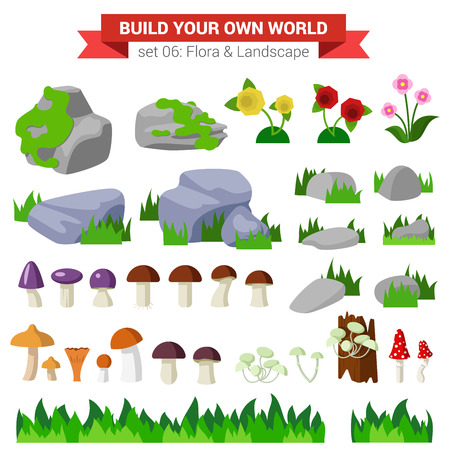 moss: Flat style flora landscape environment stone flower mushroom moss bush grass nature objects icon set. Build your own world collection.