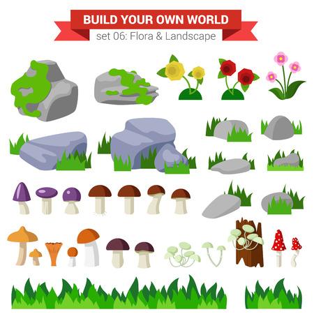 Wohnung Stil Flora Landschaft Umwelt Stein Blume Pilz Moos Busch Gras Natur Objekte Icon-Set. Bauen Sie Ihre eigene Welt Sammlung.
