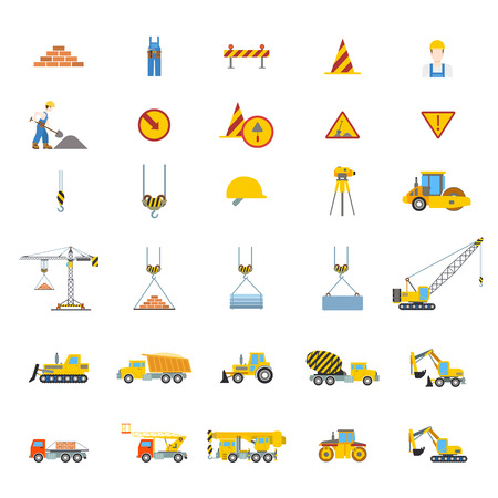 tractor warning: Flat creative style modern construction site web app icon set. Brick overalls cone sign constructor roller crane concrete mixer truck grader. Build your own world collection.