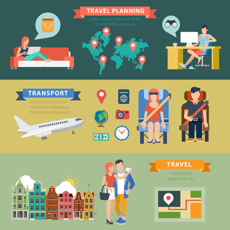 thematic: Flat style thematic travel vacation destination planning infographics concept. Sightseeing shopping transport ticket route navigation info graphic. Conceptual web site infographic collection.