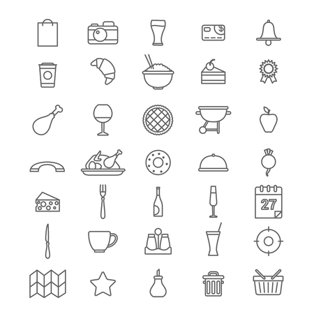 restaurant rating: Line art style flat graphical set of web site mobile interface cafe restaurant fastfood pizzeria locator booking rating app icons pack. Dessert barbecue BBQ donut cheese. Lineart world collection. Illustration