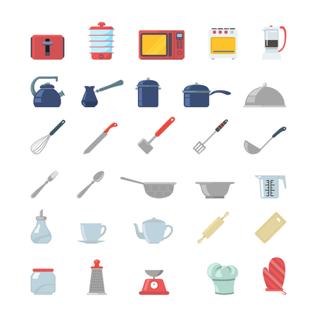 rasp: Flat creative style kitchenware object electronics modern infographic vector icon set. Toaster dry cooker microwave oven coffee maker pot gezve pan cookware scales mixer. Kitchen icons collection.
