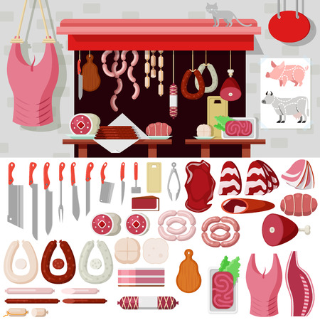 snag: Flat style butcher shop workplace icons objects kit template mockup. Icon set meat products tools to build butchery. Kits collection. Illustration
