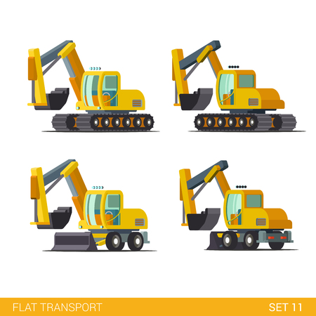power shovel: Flat isometric style modern construction site wheeled tracked vehicles transport web app icon set concept. Bulldozer motor grader excavator digger dredge power shovel. Build your own world collection.
