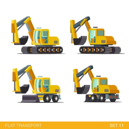 Flat isométrique site de construction de style moderne à roues véhicules chenillés transports web app icon set concept. Bulldozer niveleuse pelle excavatrice puissance de dragage pelle. Construisez votre propre collection de monde.