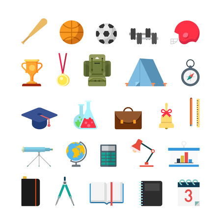 bat and ball: Flat creative style modern school college sports education infographic vector icon set. Bat ball cup trophy medal compass cap chemistry bell geography astronomy math lib. Lifestyle icons collection.