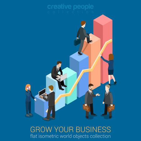 La creciente negocio infografía plantilla plana concepto 3d vector web isométrica. Los hombres de negocios que trabajan con gráficos crecen. personas colección creativa. Construir su infografía.