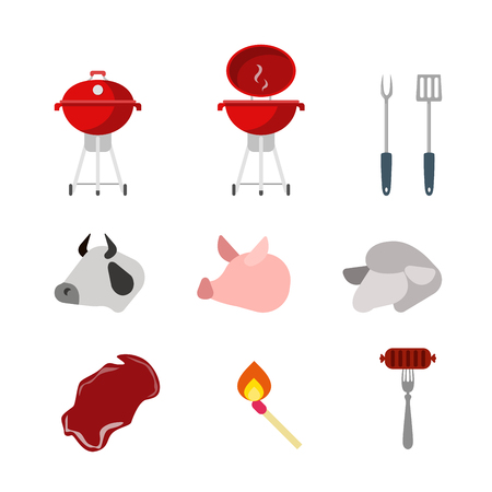 wheal: Flat creative style modern meat grill barbecue infographic vector icon set. Wheal pork lamb raw piece meat match sausage. Kitchenware food icons collection.