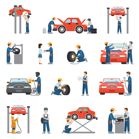 Flat style car repair service tire fitting diagnostics vehicle painting welding lift window replacement spare parts worker stuff at work icon pack set. Transport business services objects collection. Illustration