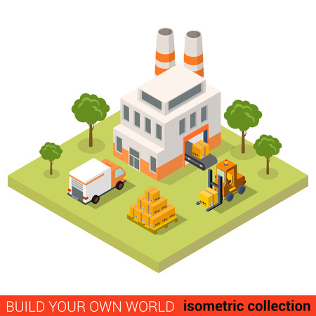 city block: Flat 3d isometric conveyor plant factory loading tape delivery van pallet crate box building block infographic concept. Build your own infographics world collection. Illustration