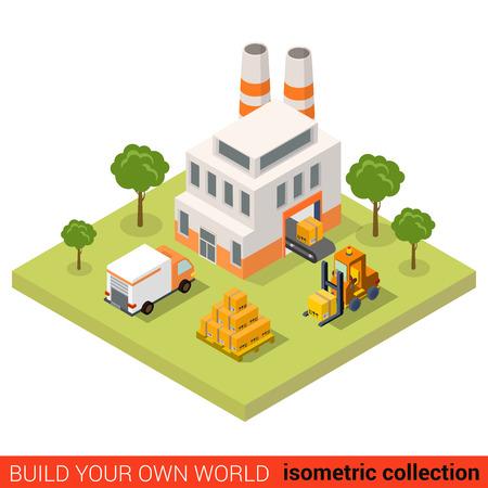 Flat 3d isometrische transportband fabriek fabriek laden tape bestelauto pallet krat bouwsteen infographic concept. Bouw je eigen infographics wereld collectie. Stock Illustratie