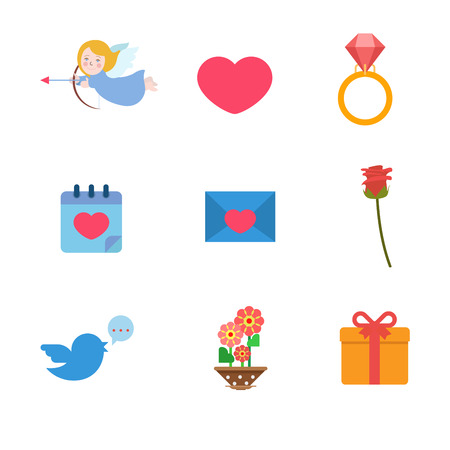 dating and romance: Flat style Valentine day wedding love romance anniversary web app concept icon set. Angel heart diamond ring calendar date dating message mail envelope rose flower tweet gift. Website icons collection
