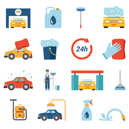 Flat style car wash cleaning service icon set. Wax foam detergent shower water shampoo vacuum cleaner worker stand conceptual icons.