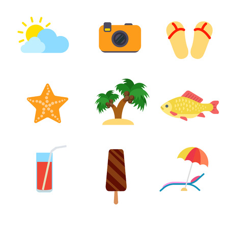 travel star: Flat style modern travel vacation beach tourism web app concept icon set. Weather camera slippers sea star coconut palm fish cocktail ice cream umbrella lounge chair. Website icons collection. Illustration